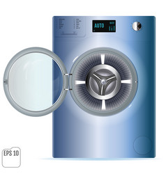 Open blue steel washing machine isolated on white vector