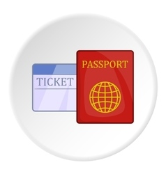 Passport and ticket icon cartoon style vector image