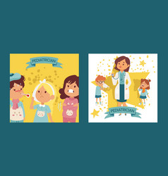 pediatrician female doctor with ill children set vector image