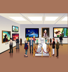 People inside a museum vector