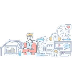 Podcast - modern line design style web banner vector