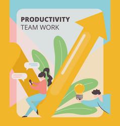 Productivity team work banner development strategy vector