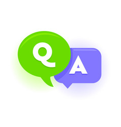 Q and a speech bubbles green and violet balloons vector