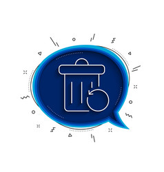 Recovery trash bin line icon backup data sign vector
