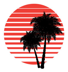 retro striped sun and palm vector image