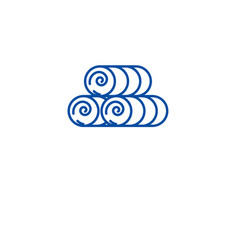 round hay bale line icon concept round hay bale vector image