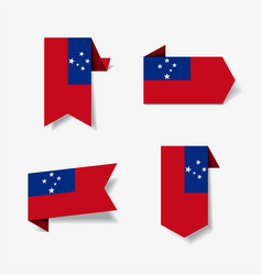 Samoan flag stickers and labels vector