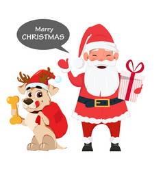 santa holding gift box and with cute dog sitting vector image