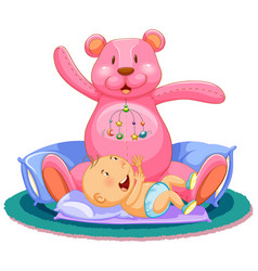 scene with baby sleeping in bed with giant teddy vector image