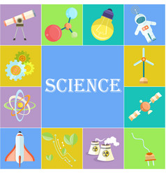 science poster with cartoon in cells vector image