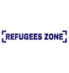 Scratched textured refugees zone stamp seal vector