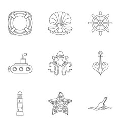 Sea adventure icons set outline style vector