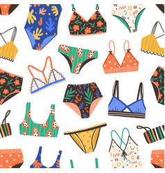 seamless pattern with bikini and swimsuit bright vector image