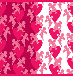 seamless pattern with silhouettes of angel and vector image