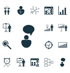 set 16 executive icons includes company vector image