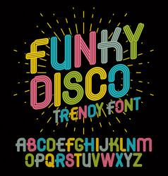 Set bright upper case funky english alphabet vector