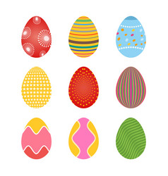 Set of spring colored easter eggs with dots and vector