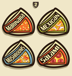 set signs for italian pizza vector image