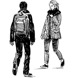 Sketch teenagers going towards each other vector