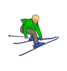 Skier jumping sketch doodle hand vector