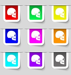 Skull icon sign Set of multicolored modern labels vector