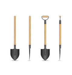 spade shovel with wooden handle isolated on white vector image