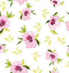Spring flowers seamless pattern Watercolor vector image