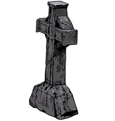 Stone cemetery cross vector