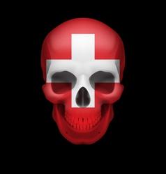 Swiss flag skull vector image