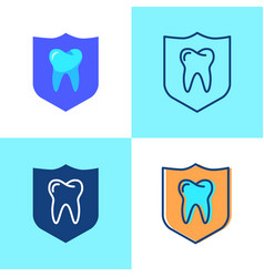 Teeth protection icon set in flat and line style vector