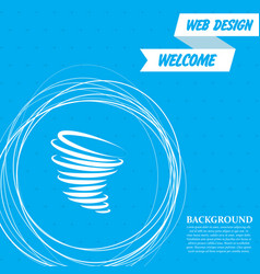 Tornado icon on a blue background with abstract vector