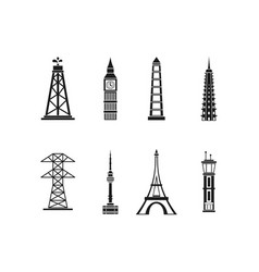 tower icon set simple style vector image