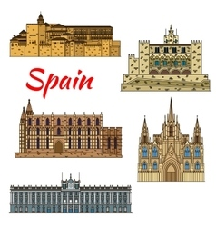 Travel landmark icons of Spain vector image vector image