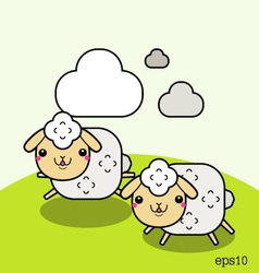 Two white sheep and cloud on the sky vector