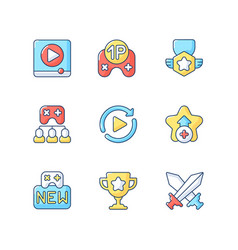 video game rgb color icons set vector image