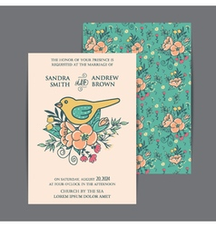 Wedding invitation with bird and flowers vector