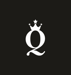 White black q letter with crown logo vector