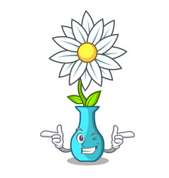 Wink character cartoon glass vase with flowers vector