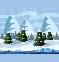 winter landscape with mountains trees river vector image