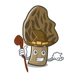Witch morel mushroom mascot cartoon vector