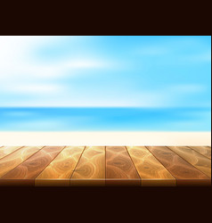 Wood floor walkway seaside coastline vector