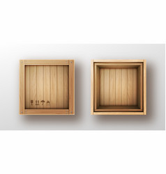 Wooden box open and closed realistic vector