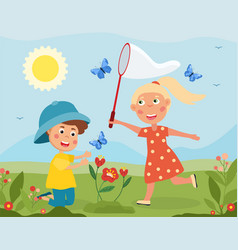 young girl and boy catching butterflies vector image