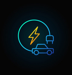 electric vehicle colorful line icon on dark vector image vector image