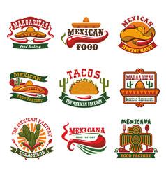 mexican cuisine fast food restaurant emblem design vector image