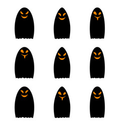 Simple black ghost halloween ghost vector