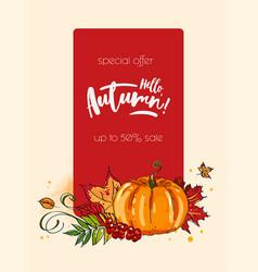 autumn hello banner with autumnal pumpkin vector image