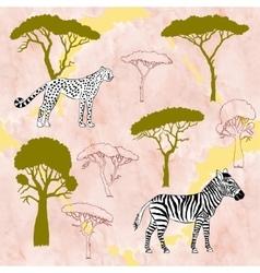 Cheetah zebra and savanna trees vector image vector image