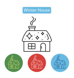 christmas house with smoking chimney vector image vector image