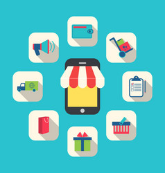 Concept of Online Shop E-commerce Colorful Simple vector image vector image